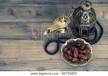 Dates, Arabian Lantern And Rosary. Islamic Holidays Concept