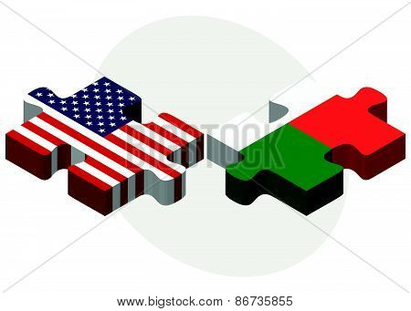 Usa And Madagascar Flags In Puzzle