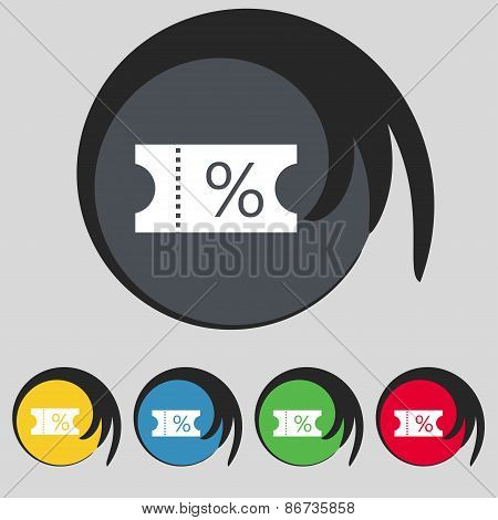 Ticket Discount Icon Sign. Symbol On Five Colored Buttons. Vector
