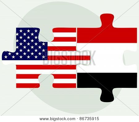 Usa And Yemen Flags In Puzzle