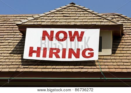 NOW HIRING Banner On Business