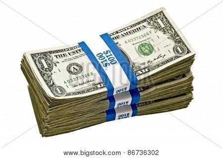 Stack Of Money In Bundles