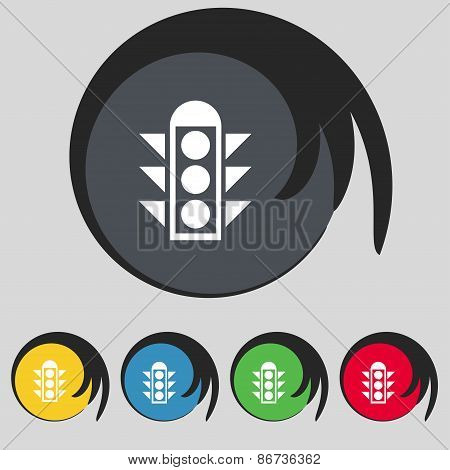 Traffic Light Signal Icon Sign. Symbol On Five Colored Buttons. Vector