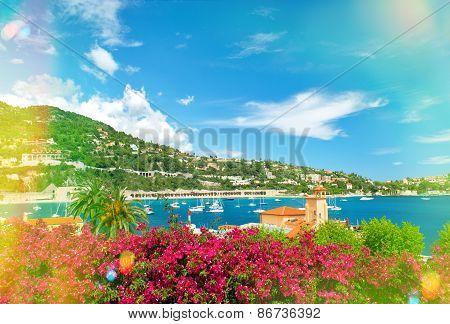 French Riviera Near Nice And Monaco. Mediterranean Landscape