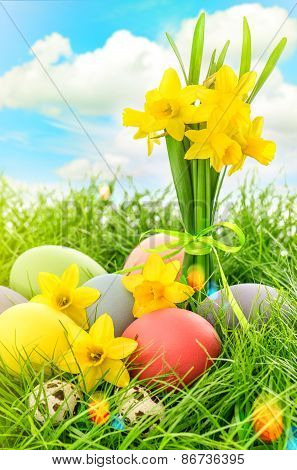 Easter Eggs Decoration And Narcissus Flowers. Blue Sky With Lens Flares