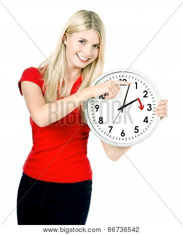 Time Management Concept. Daylight Saving Time. Young Smiling Woman