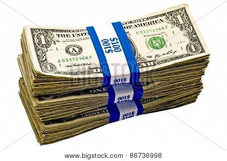 Three Bundles Of Cash In Paper Bands