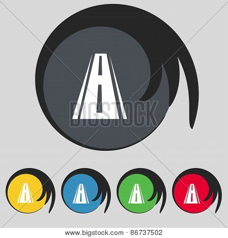 Road Icon Sign. Symbol On Five Colored Buttons. Vector
