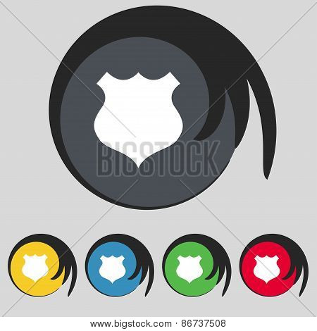 Shield Icon Sign. Symbol On Five Colored Buttons. Vector
