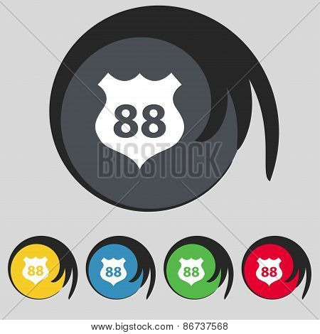 Route 88 Highway Icon Sign. Symbol On Five Colored Buttons. Vector