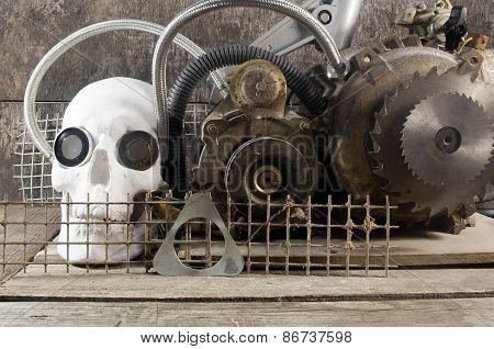 Mechanical skull front view.