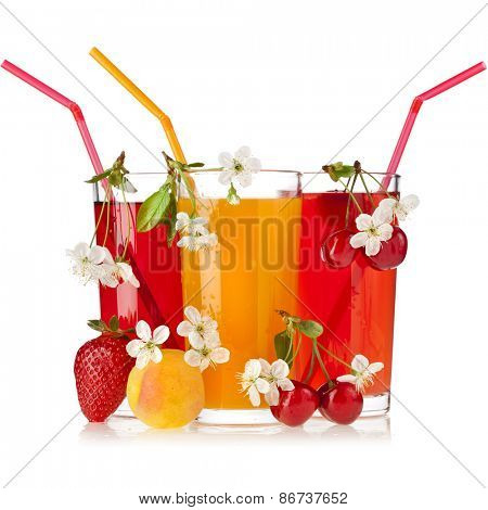 juices glass with fresh berries and fruits, and Colored drinking straws isolated on white background