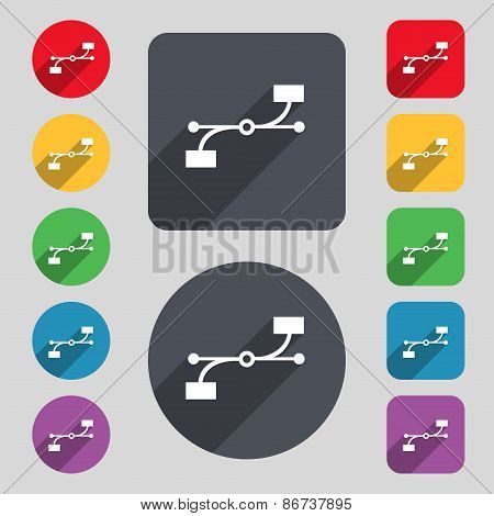 Bezier Curve Icon Sign. A Set Of 12 Colored Buttons And A Long Shadow