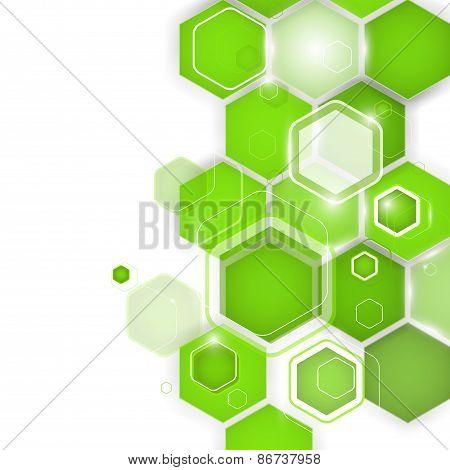 Abstract Green Background Hexagon. Vector Illustration