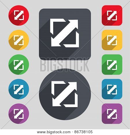 Deploying Video, Screen Size Icon Sign. A Set Of 12 Colored Buttons And A Long Shadow