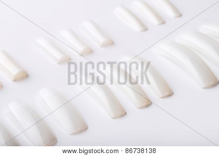 Set of white acrylic artificial nails for painting