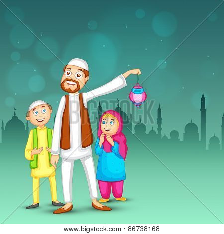 Happy religious muslim family, Father and kids on the occasion of Islamic holy month of prayers, Ramadan Kareem.