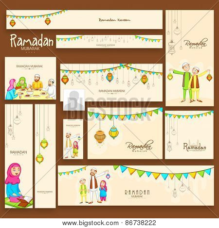 Social Media banners ads for the celebrations of Muslim community holy month of prayers, Ramadan Kareem.