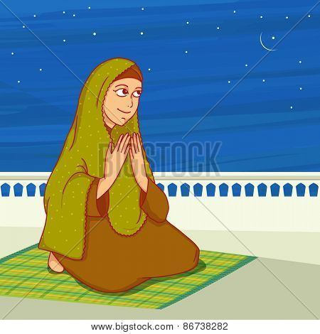Religious Muslim lady, reading Namaz (Namaz, Muslim prayer) in the night, Concept for Islamic holy month of prayers, Ramadan Kareem.