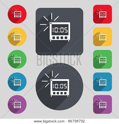 Digital Alarm Clock Icon Sign. A Set Of 12 Colored Buttons And A Long Shadow