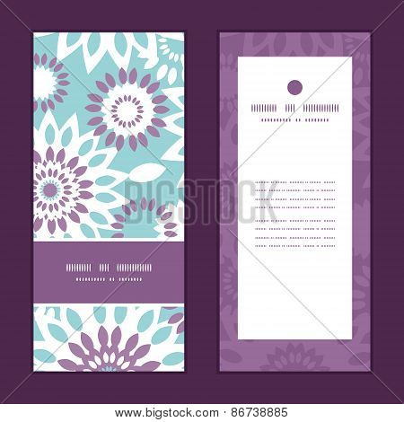 Vector purple and blue floral abstract vertical frame pattern invitation greeting cards set