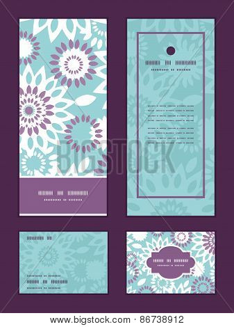 Vector purple and blue floral abstract vertical frame pattern invitation greeting, RSVP and thank yo