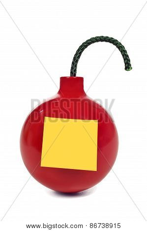 Red Round Bomb With Blank Sticky Note