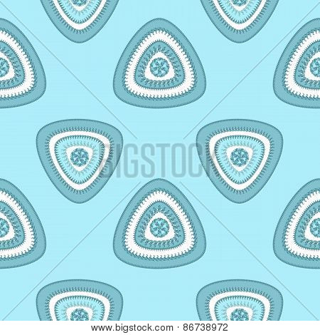 Abstract Seamless pattern with triangle in marine blue