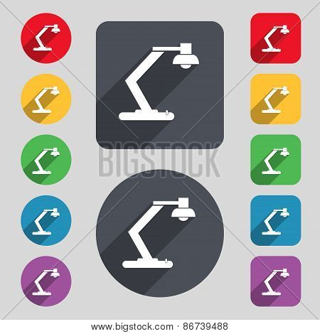 Light, Bulb, Electricity Icon Sign. A Set Of 12 Colored Buttons And A Long Shadow