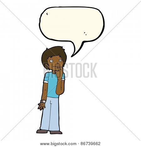 cartoon boy wondering with speech bubble