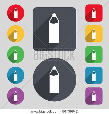 Plastic Bottle With Drink Icon Sign. A Set Of 12 Colored Buttons And A Long Shadow