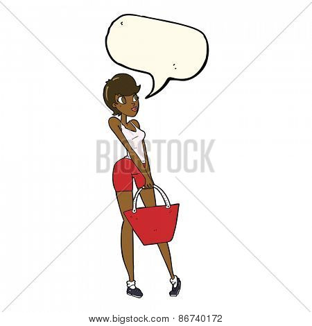cartoon attractive woman shopping with speech bubble