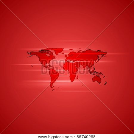 Red glowing background with world map. Vector design