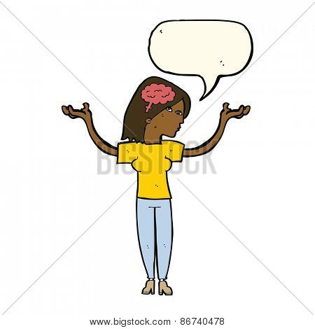 cartoon intelligent woman with speech bubble