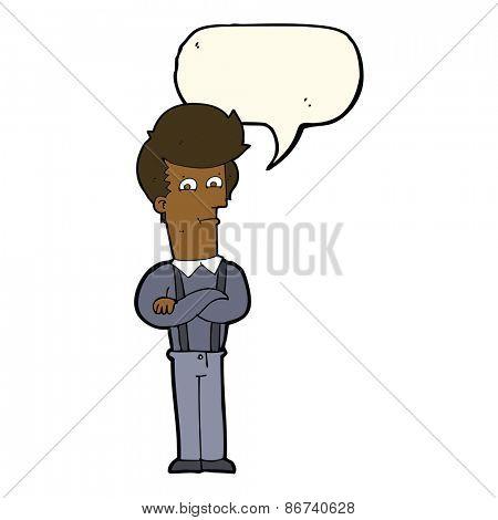 cartoon annoyed man with speech bubble