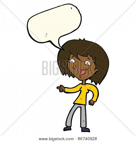 cartoon woman laughing and pointing with speech bubble