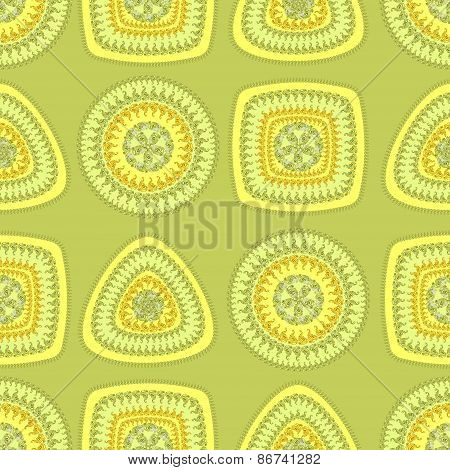 Seamless pattern with circle triangle square in light green