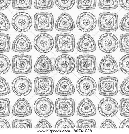 Seamless pattern with circle triangle square in grey