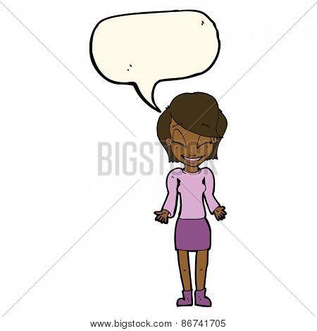 cartoon happy woman shrugging shoulders with speech bubble
