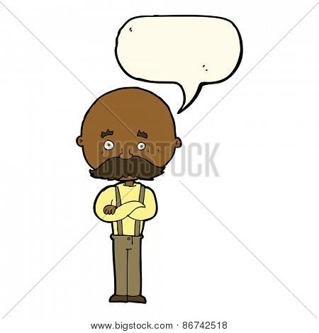 cartoon grandfather with speech bubble