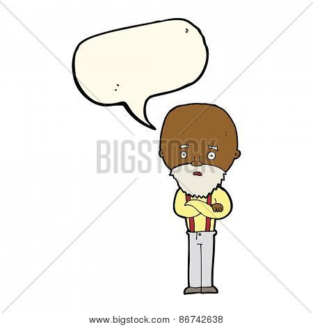 cartoon worried old man with speech bubble