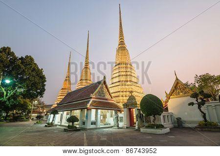 Wat Pho Temple At Night Of Bangkok, Thailand