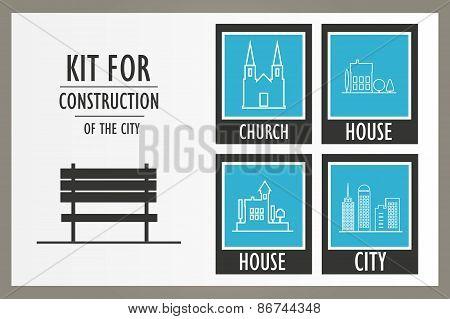 Set vector elements of the urban landscape
