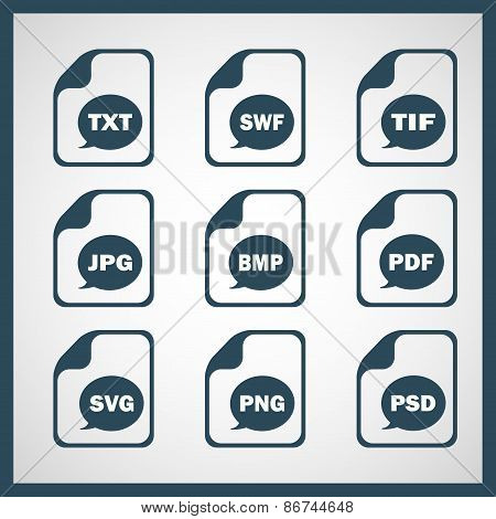 Set of icons indicating the digital formats