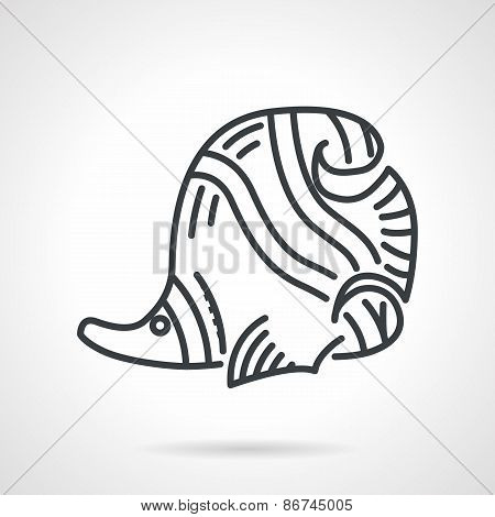 Black line vector icon for butterflyfish
