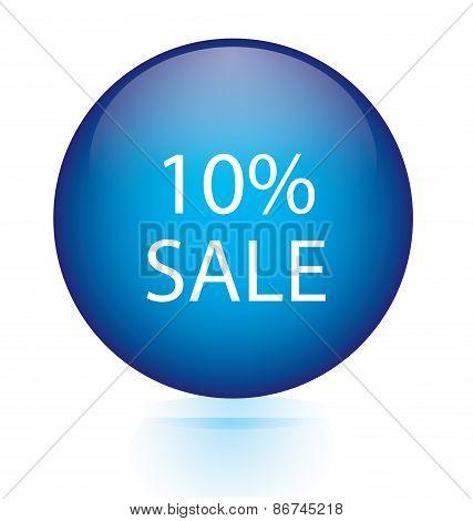 Sale ten percent blue circular button