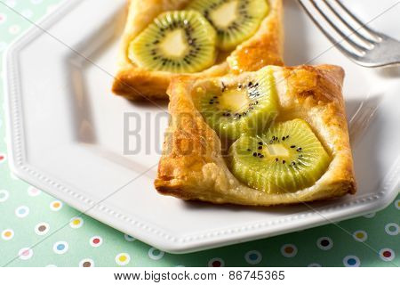 Kiwi Tart On Flaky Pastry Crust