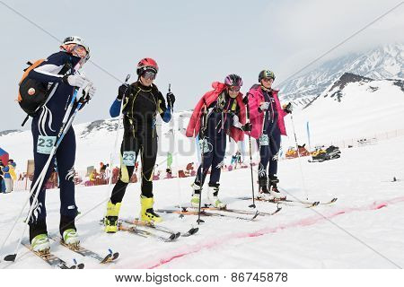 Girls Ski Mountaineers At The Starting Line. Team Race Ski Mountaineering. Russian, Kamchatka