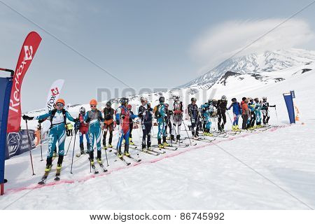 Sportsmans Ski Mountaineers At The Starting Line. Team Race Ski Mountaineering. Kamchatka, Russia