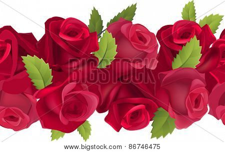 Seamless horizontal border with realistic red roses